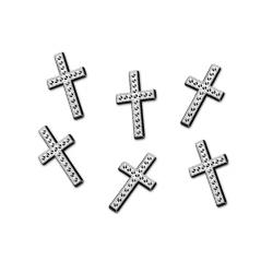 Aplikacje Krzyż, srebrny, 27mm (1 op. / 25 szt.)