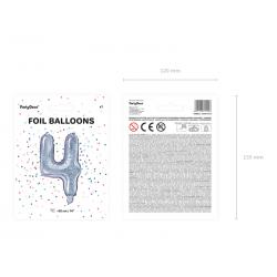 """Balon foliowy Cyfra """"4"""", 35cm, holograficzny"""