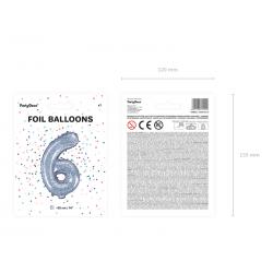 """Balon foliowy Cyfra """"6"""", 35cm, holograficzny"""