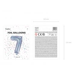 """Balon foliowy Cyfra """"7"""", 35cm, holograficzny"""