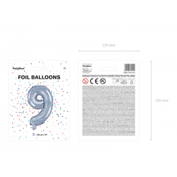 """Balon foliowy Cyfra """"9"""", 35cm, holograficzny"""
