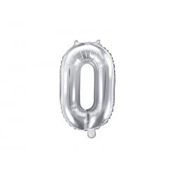 """Balon foliowy Cyfra """"0"""", 35cm, srebrny"""