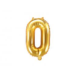 """Balon foliowy Cyfra """"0"""", 35cm, złoty"""