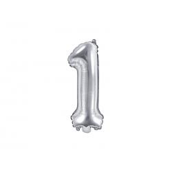 """Balon foliowy Cyfra """"1"""", 35cm, srebrny"""