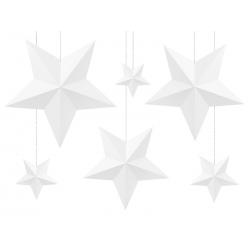 Dekoracja Gwiazdy, biały (1 op. / 6 szt.)