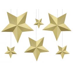 Dekoracja Gwiazdy, złoty (1 op. / 6 szt.)