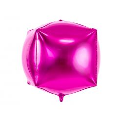 Balon foliowy Sześcian, 35x35x35cm, ciemny różowy