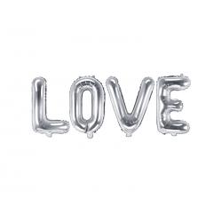 Balon foliowy Love, 140x35cm, srebrny
