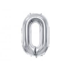 """Balon foliowy Cyfra """"0"""", 86cm, srebrny"""