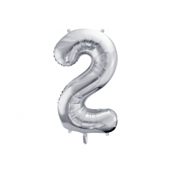 """Balon foliowy Cyfra """"2"""", 86cm, srebrny"""