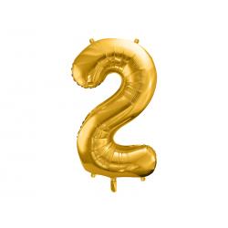"""Balon foliowy Cyfra """"2"""", 86cm, złoty"""