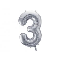 """Balon foliowy Cyfra """"3"""", 86cm, srebrny"""