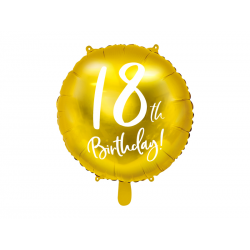 Balon foliowy 18th Birthday, złoty, 45cm