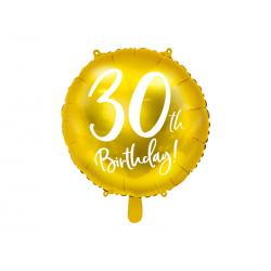 Balon foliowy 30th Birthday, złoty, 45cm
