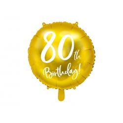 Balon foliowy 80th Birthday, złoty, 45cm