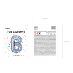 """Balon foliowy Litera """"B"""", 35cm, holograficzny"""
