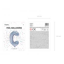 """Balon foliowy Litera """"C"""", 35cm, holograficzny"""