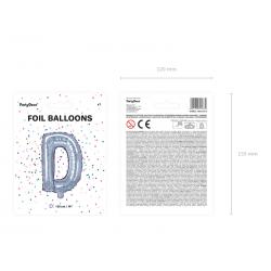 """Balon foliowy Litera """"D"""", 35cm, holograficzny"""