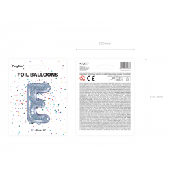 "Balon foliowy Litera ""E"", 35cm, holograficzny"