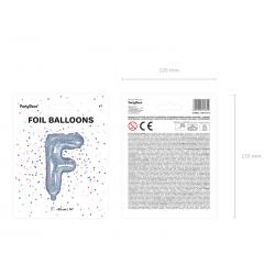 """Balon foliowy Litera """"F"""", 35cm, holograficzny"""