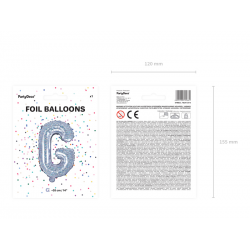 "Balon foliowy Litera ""G"", 35cm, holograficzny"