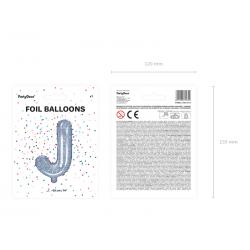 """Balon foliowy Litera """"J"""", 35cm, holograficzny"""