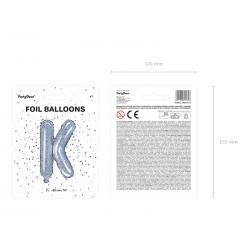 "Balon foliowy Litera ""K"", 35cm, holograficzny"