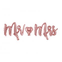 Balon foliowy Mr Mrs, różowe złoto, 69x125cm