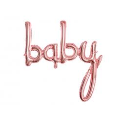 Balon foliowy Baby, różowe złoto, 73,5x75,5cm