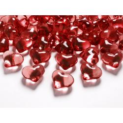Kryształowe serca, czerwony, 21mm (1 op. / 30 szt.)