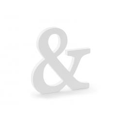Drewniany znak &, biały, 19,5x20,5cm
