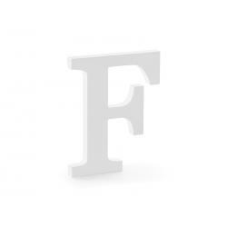 Drewniana litera F, biały, 16x20cm