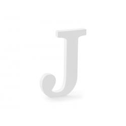 Drewniana litera J, biały, 14,5x20cm