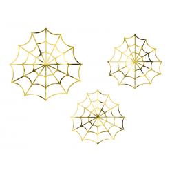 Dekoracje papierowe - Pajęczyny, złoty (1 op. / 3 szt.)