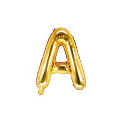 """Balon foliowy Litera """"A"""", 35cm, złoty"""