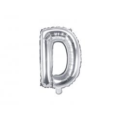 "Balon foliowy Litera ""D"", 35cm, srebrny"