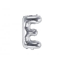 """Balon foliowy Litera """"E"""", 35cm, srebrny"""