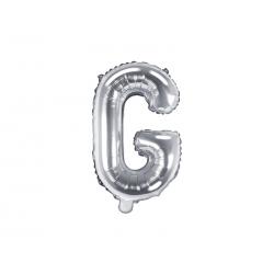 """Balon foliowy Litera """"G"""", 35cm, srebrny"""