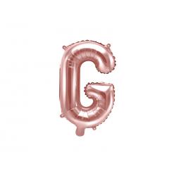 """Balon foliowy Litera """"G"""", 35cm, różowe złoto"""