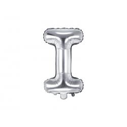 """Balon foliowy Litera """"I"""", 35cm, srebrny"""