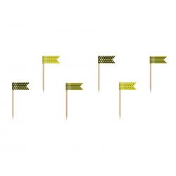 Flagietki na piku mini Pszczółka, mix, 7cm (1 op. / 6 szt.)