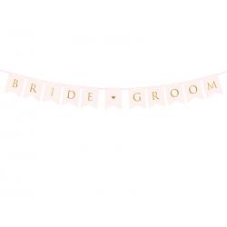 Baner Bride Groom, j. różowy, 15 x 155 cm