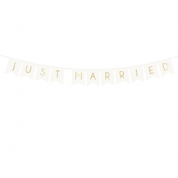 Baner Just Married, biały, 15 x 155 cm