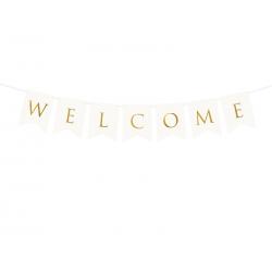 Baner Welcome, biały, 15 x 95 cm