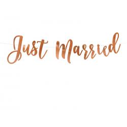 Baner Just Married, różowe złoto, 20x77cm