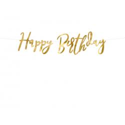 Baner Happy Birthday, złoty, 16.5x62cm