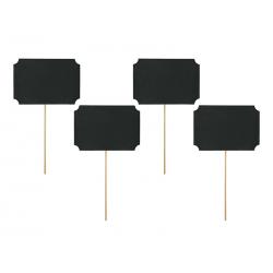 Karteczki na patyczkach, czarny, 11 x 8cm (1 op. / 4 szt.)