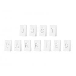 Lampiony, torebki na świece - Just Married, 11.5x19x7cm (1 op. / 11 szt.)