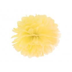 Pompon bibułowy, żółty, 25cm