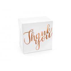 Ozdobne pudełka na ciasto - Thank you, różowe złoto, 14x8,5x14cm (1 op. / 10 szt.)